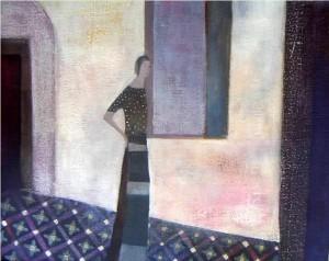woman in corridor Lucy Raverat